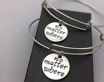 SET OF 2 Long Personalized Distance Friendship Bracelet o Matter Where Distance Friendship Charm Bracelet Gift Matching Set of 2 Banlges