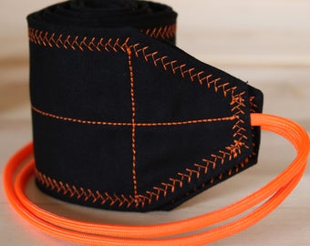 TraininGear Wrist Wraps Black Neon Orange Support Weightlifting Lifting Training Gear