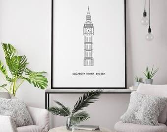 Big Ben / Elizabeth Tower, Line, London Print   London Artwork   London Illustration   Architecture Print   City Print