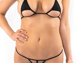 Extreme trangle cut Micro Bikini Brazilian g string in Black