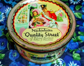 Vintage Quality Street Tin - 1950's - Mackintosh's Quality Street - Made in England - Used and empty!