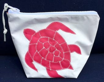 Sunblock Bag -Pink Turtle - Made from Recycled Sail