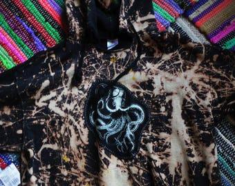 bleached acid wash octopus  kraken hoodie-punk, patched, bleached, crustpunk