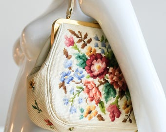 Needlepoint Bag | Needlepoint Purse | Floral Needlepoint Bag | Tapestry Bag | Floral Tapestry Bag