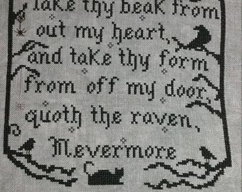 Pattern Edgar A. Poe Cross Stitch, Literature pattern, primitive pattern Nevermore, Two Alphabet Letter Choices Standard & Victorian Vintage