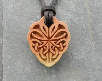 Celtic Amulet of Love and Fidelity Stone carving Pendant from jasper Stone pendant