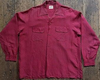 1940s National Shirt Shops red silk work shirt.