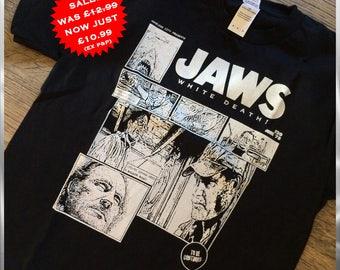 JAWS - shark week sale - horror movie t-shirt, jaws tshirt, horror film tee, shark clothing, comic style, nameless city apparel, movie shirt