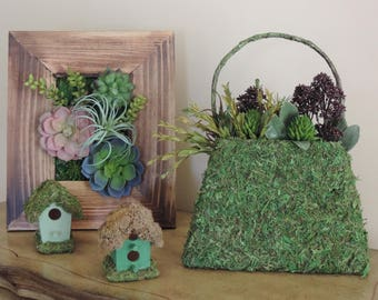 Green moss nature purse with artificial succulent flowers, Tree branch handle, home decor