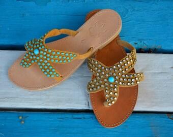 Starfish sandals, Boho sandals, Greek sandals, Luxury sandals, Leather slides, Slip on sandals, Studded sandals, Handmade leather sandals