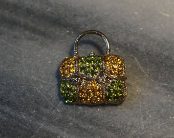 Little brooch-pin, handbag with yellow and green rhinestone