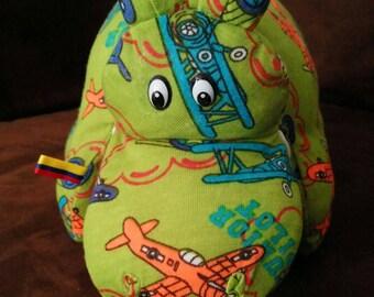 Stuffed hippo, hidden storage.