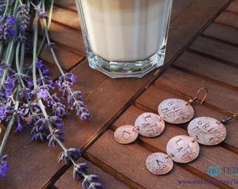 bring me a latte earrings, coffee earrings, copper earrings, disc, circle