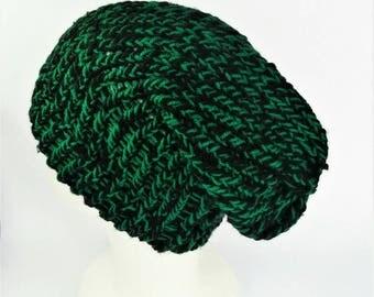 Green and black hat, slouchy wool beanie, ladies slouch hat, bohemian style hat, slouchy beanie, slouch knit hat, ladies beany, beany hat
