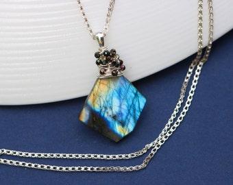 Labradorite Pendant, Yellow Blue Labradorite Necklace Small Delicate Necklace Silver Labradorite Nugget, Yellow Labradorite Wire Wrapped