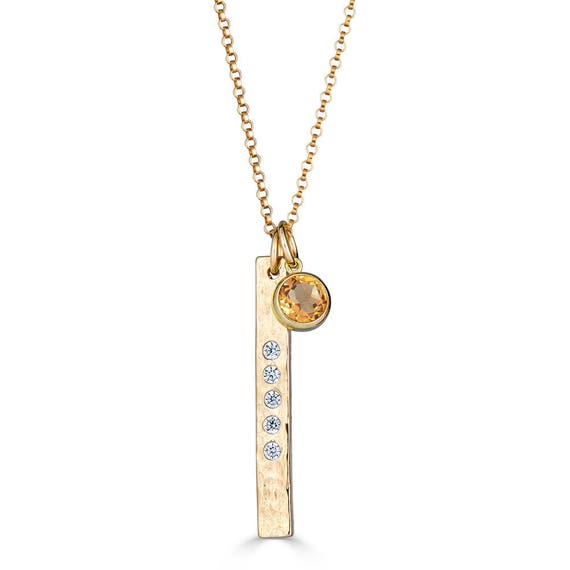 18th Birthday Cz T Bar Sterling Silver Heart Bracelet Can: Bar Necklace With Birthstone Bar Necklace Gold Bar Necklace