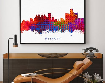 Detroit Skyline Print, Detroit Home Wall Art Decor, Skyline Art, Detroit Poster, Detroit Giclee, Michigan Home Decor (N110)