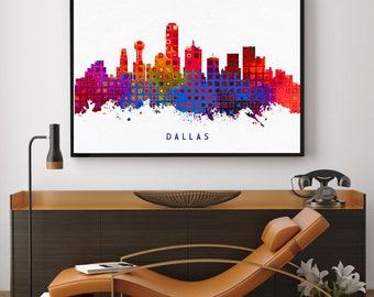 Dallas Skyline Art, Dallas Skyline Painting, Dallas Wall Art, Dallas City Home Decor, Room Decor, Watercolor Dallas (N150)