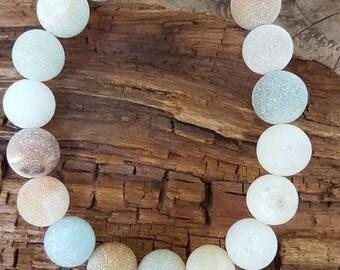 "8"" 10mm Large Matte Amazonite Gemstone Stretch Bracelet, Stretch Amazonite Bracelet, Stretch Blue Gemstone Bracelet, Large Matte Amazonite"