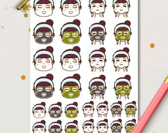 Facial Peggy Planner Stickers | Face Mask stickers |