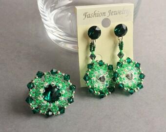 Green Crystal Swarovski set Earrings and rings Seed bead set Beaded set  Women set Jewelry set Silver 925 set