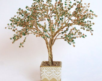 Interior decoration - Yellow blossom beaded tree/ Tree of luck