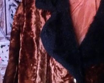 copper velvet coat with black faux fur collar 60s