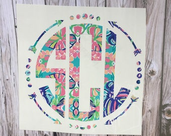 Lilly Pulitzer Inspired Arrow Monogram Decal | Yeti Decal | Lilly Car Decal | Lilly Monogram Decal | Lilly Sticker | Monogram Tumbler Decal
