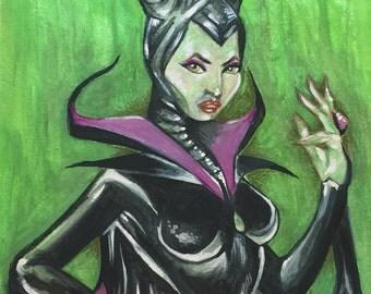 Maleficent Watercolor Art Print, Maleficent Original Art Print, Disney Sleeping Beauty Watercolor Painting, Home Decor