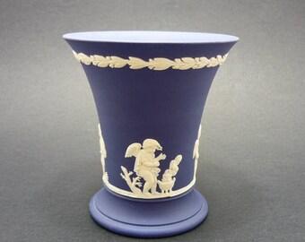 Dark Blue Wedgwood Jasperware Vase, Blue Jasperware, Wedgwood Blue, Wedgwood Vase, Wedgwood Jasperware, Blue Wedgwood Vase, Blue Wedgwood