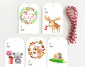 "2""x 3"" Gift Tag Set of 4,  Merry Christmas/ Moose/ Crochet Bear/Squirrel/Christmas Tree"