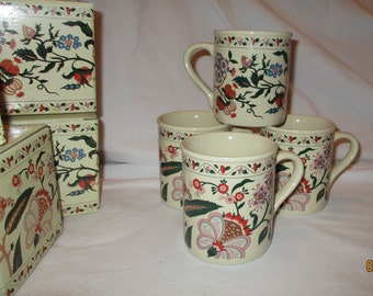 Vintage Potpourri Press Palampore Mugs Set 4 New in Boxes Rare Design