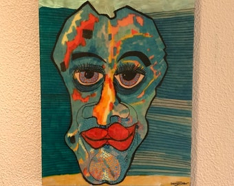 """Wall art, Intense, face, colorful, torquoise, painting, image, original, hand made, Larry Cutler, Sale, item, from Art show, 12""""x 16"""""""