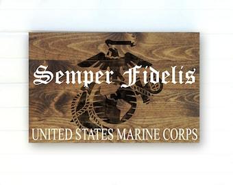 US Marine Corps Rustic Wood Sign - US Marines Wall Art - USMC Decor - United States Marine Corps Wood Sign - Marine Decor - Painted Sign