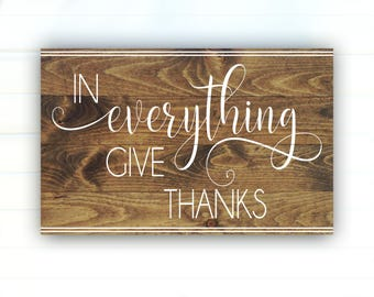 In Everything Give Thanks Wood Pallet Sign - Give Thanks Sign - Fall Sign - Autumn Sign - Wood Sign - Painted Wood Fall Decor