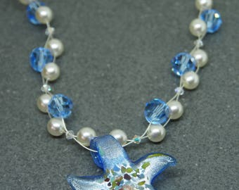 Blue starfish necklace, Blue and white beaded necklace,  floating bead necklace, illusion necklace, beach jewellery