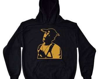2Pac Tupac Shakur - Black Hoodie To Match Retro Air Jordan 11 XI PRM Heiress Stingray Black Gold Royalty 4s 5 Metallic Gold 1 Melo Olympics