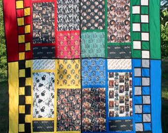 Harry Potter Hogwarts House Quilt / Gryffindor / Slytherin / Hufflepuff / Ravenclaw / Deathly Hallows