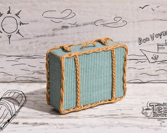 Miniature Suitcase   Wicker Dollhouse Bag   Handbag For Doll   Turquoise And Brown Valise   For Tiny BJD   Twelfth Scale
