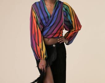 Black Magic Skirt // Vintage Black Suede Wrap Skirt // Vintage Fringe Skirt