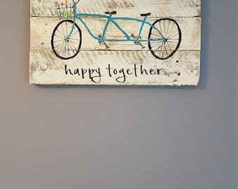 Vintage hand painted tandem bicycle, rustic bicycle sign, painted rustic bike, rustic wedding gift