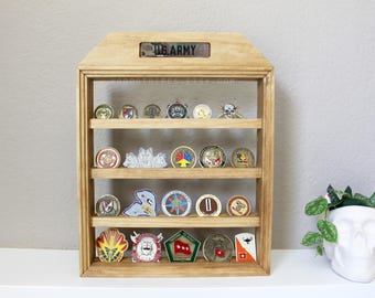 Medium Military Coin Rack, Nametape Holder, Wall Hanging, Desktop, Challenge Coin Display, Military Coin Holder, First Responder, Army
