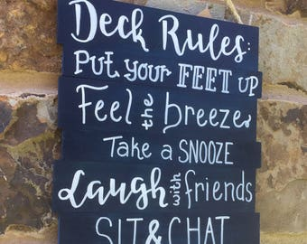Deck rules, deck sign, porch rules sign, patio rules, patio sign, Porch sign, outdoor decor, wood outdoor sign, wood patio sign, welcome
