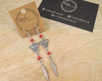 Long Boho Burgundy Feather Aztec Earrings | dangle earrings, charm earrings, turquoise bead earrings, long earrings, boho earrings