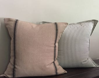 Pillow Set of 2, Grain Sack Pillow Cover & Black Ticking Stripe Pillow Covers 18x18 or 20 x 20, Farmhouse Pillows, Decorative Pillows