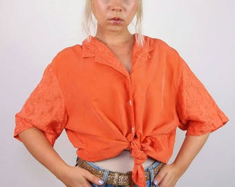 YORN Vintage 90's Oversized Embroidery Sleeve Silk Shirt / Blouse in Orange | Size M-L
