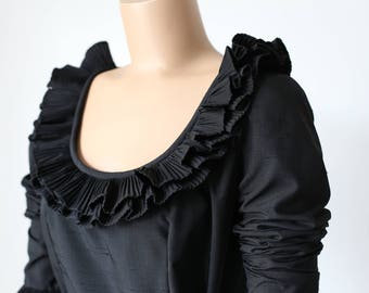 70s VICTOR COSTA black dress with ruffle neck and cuffs