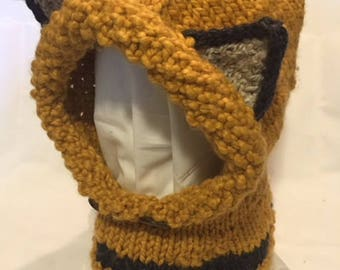 Handmade knitted hat, fox hat