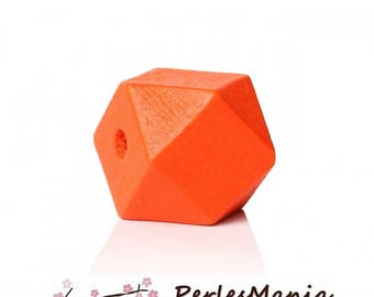 ORANGE 20 mm S1144152 polygons wooden beads