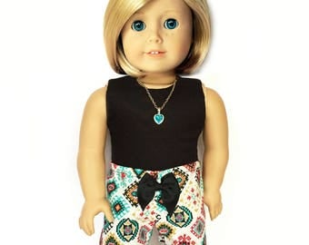 American Doll Clothes, 18 inch Doll Clothes, Print Shorts, Aztec Tribal, Multicolor, Turquoise, Black, Bow, Fits dolls such as American Girl
